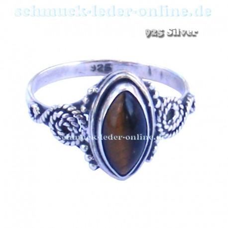925 Silber Tigerauge Sterlingsilber Ring Echter Edelstein Silberring Damenring