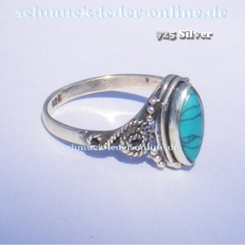 38f9c46dcc11 Anillo de mujer 925 Plata de Ley piedra preciosa Turquesa Artesanal hecho a  mano. Loading zoom