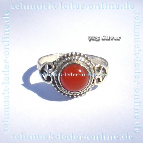 Cornelian Agate 925 Sterling Silver Ladies Ring Precious Stone Handcrafted Hand Made