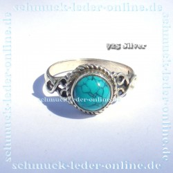 Anillo de mujer 925 Plata de Ley piedra preciosa Turquesa Artesanal hecho a mano