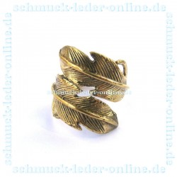 Brass Golden Feather Ring Ladies adjustable Handcrafted Hand Made
