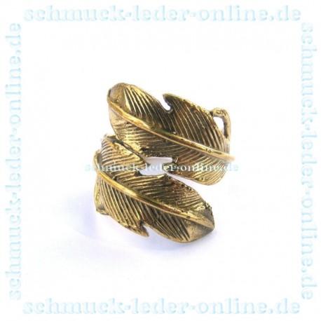 Goldener Messing Feder Ring Damenring Goldfarbe