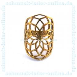 Anillo de Latón Dorado Mandala de mujer Artesanal hecho a mano