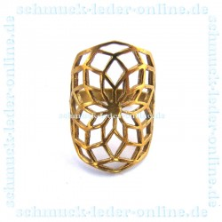 Goldener Messing Mandala Ring Damenring Goldfarbe Handarbeit Handgemacht