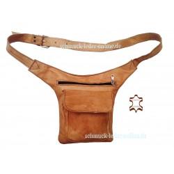 Riñonera Hombre Mujer Cuero Natural Claro bolso de cintura cinturón hecho a mano artesanal beige