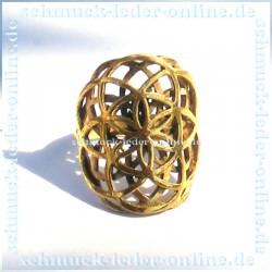 Goldene Blume des Lebens Messing Ring