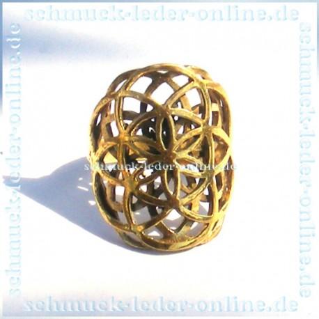 Goldener Messing Mandala Blume des Lebens Ring Damenring Goldfarbe Handarbeit Handgemacht Bronze