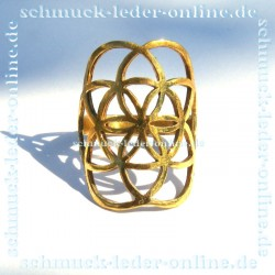 Brass Golden Seed Flower of Life Mandala Ring Ladies Handcrafted Hand Made Bronze