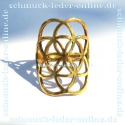 Goldener Messing Mandala Samen Blume des Lebens Ring Damenring Goldfarbe Handarbeit Handgemacht Bronze