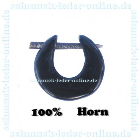 Schwarzer Ohrrin Creole Dehnungsstab 2mm Horn Tribal Spiral Ohrring Schwarz