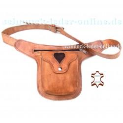 Hüfttasche Herz cognac beige Gürteltasche Bauchtasche Satteltasche Side Bag Goa Leder Tasche Naturleder kleine Umhängetasche Gür