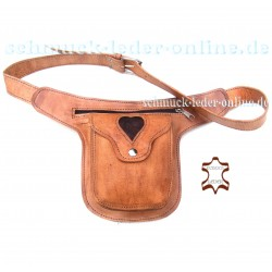 Natural Leather Waist Bag Heart Beige