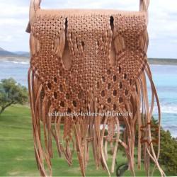 Kleine Leder Tasche mit Fransen Natur