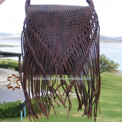 Large Leather Bag with Fringes Brown