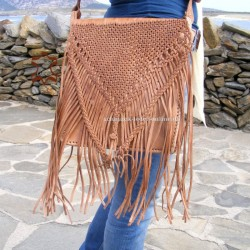 Large Leather Bag with Fringes Natural